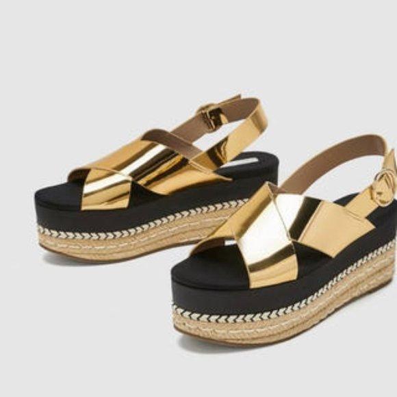 Zara Shoes | Metallic Gold Platform